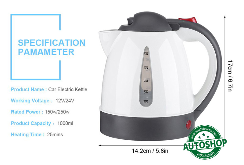 Bình đun Fdit Portable 12V Car Travel KettleBình đun Fdit Portable 12V Car Travel Kettle