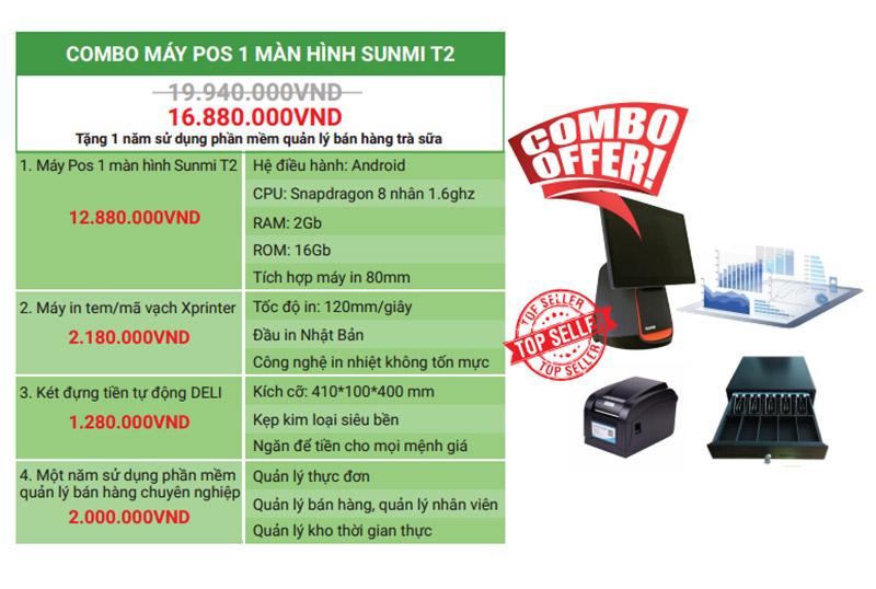 Combo POS Sunmi T2 2 màn hình